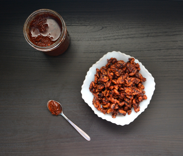 Harissa Paste Roasted Walnuts